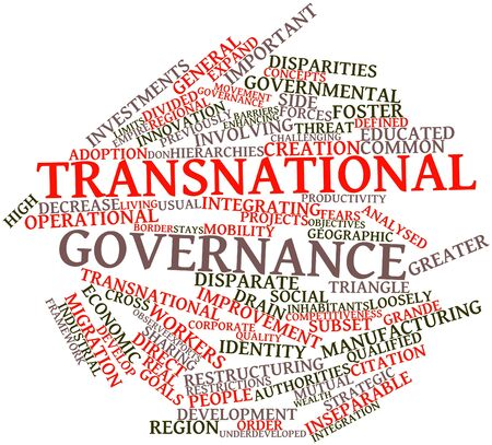 transnational: Abstract word cloud for Transnational governance with related tags and terms Stock Photo