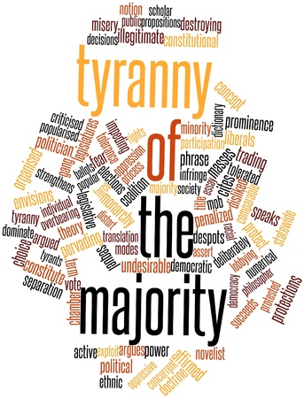 oppressive: Abstract word cloud for Tyranny of the majority with related tags and terms