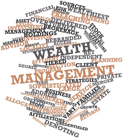 worth: Abstract word cloud for Wealth management with related tags and terms Stock Photo