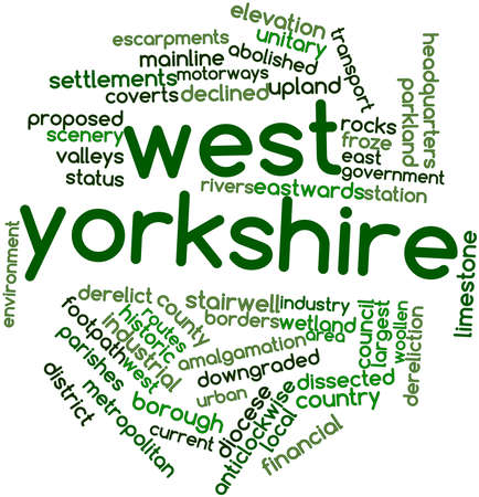 yorkshire: Abstract word cloud for West Yorkshire with related tags and terms