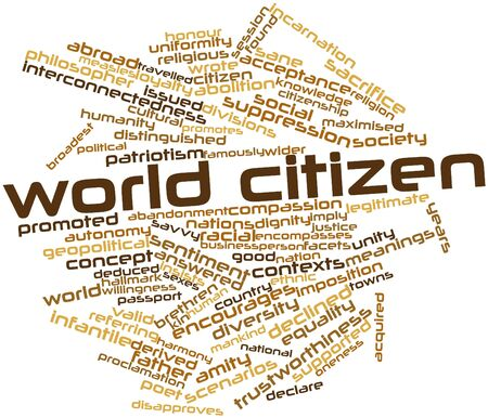 imply: Abstract word cloud for World citizen with related tags and terms