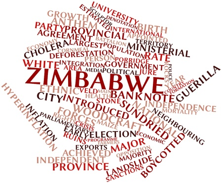 neighbouring: Abstract word cloud for Zimbabwe with related tags and terms Stock Photo
