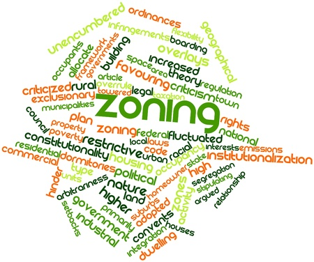 overlays: Abstract word cloud for Zoning with related tags and terms Stock Photo