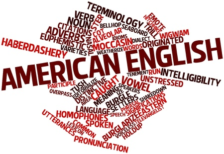 coined: Abstract word cloud for American English with related tags and terms Stock Photo