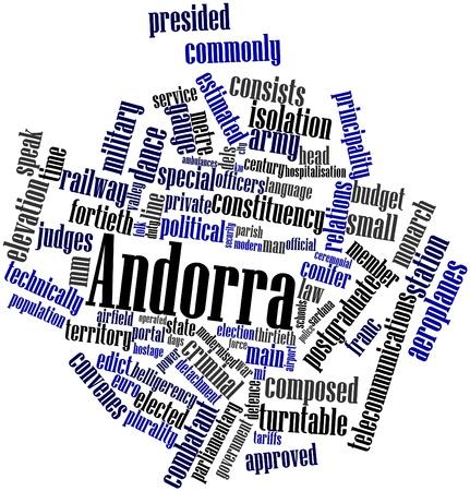 edicto: Nube palabra abstracta para Andorra con las etiquetas y t�rminos relacionados Foto de archivo