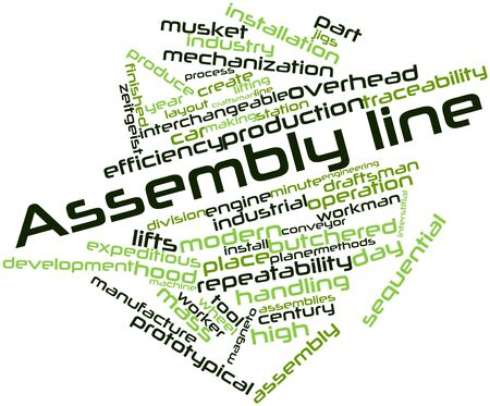 credited: Abstract word cloud for Assembly line with related tags and terms