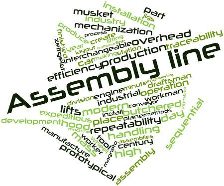 asamblea: Nube palabra abstracta para la línea de montaje con etiquetas y términos relacionados