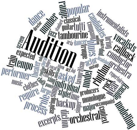 audition: Abstract cloud słowo Audition z pokrewnymi tagów oraz warunków