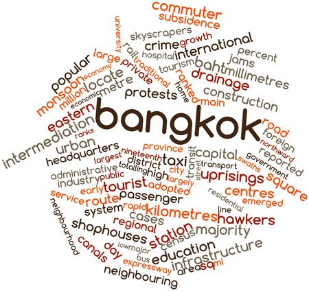 neighbourhood: Abstract word cloud for Bangkok with related tags and terms
