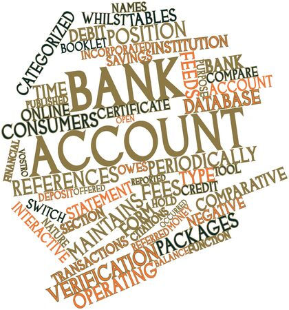 owes: Abstract word cloud for Bank account with related tags and terms Stock Photo