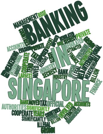 imposed: Abstract word cloud for Banking in Singapore with related tags and terms Stock Photo