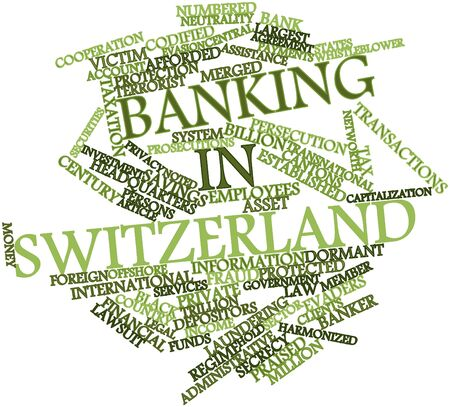 Abstract word cloud for Banking in Switzerland with related tags and terms Stock Photo - 17024504