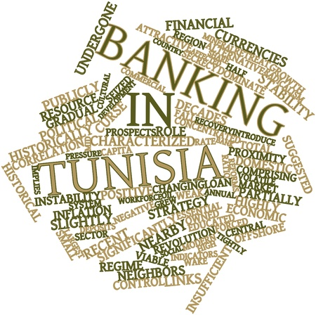 implies: Abstract word cloud for Banking in Tunisia with related tags and terms Stock Photo