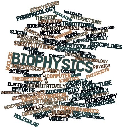 Abstract word cloud for Biophysics with related tags and terms photo