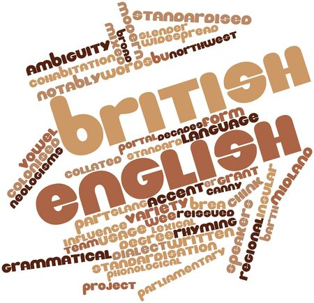 standardised: Abstract word cloud for British English with related tags and terms Stock Photo