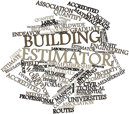promotes: Abstract word cloud for Building estimator with related tags and terms Stock Photo