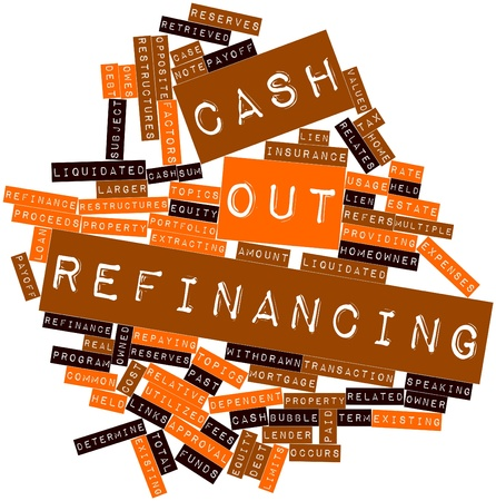 refinancing: Abstract word cloud for Cash out refinancing with related tags and terms Stock Photo
