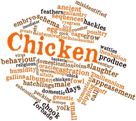contrema�tre: Nuage de mot abstrait pour poulet avec des �tiquettes et des termes connexes