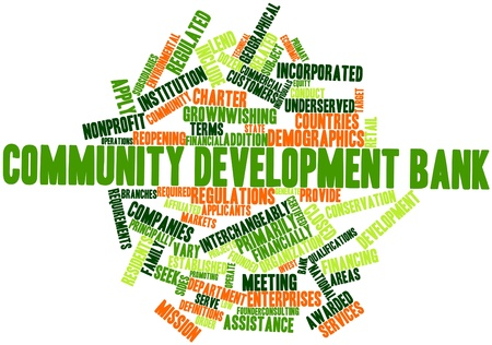 regulated: Abstract word cloud for Community development bank with related tags and terms Stock Photo