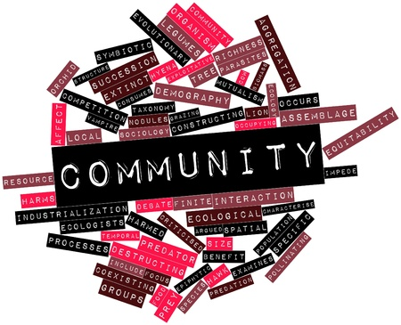 mutualism: Abstract word cloud for Community with related tags and terms