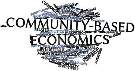 effectively: Abstract word cloud for Community-based economics with related tags and terms Stock Photo
