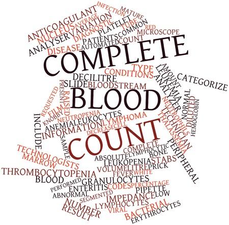 関連するタグと用語の完全な血球数の抽象的な単語大群 写真素材