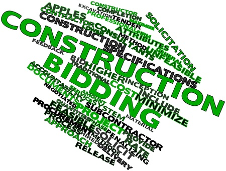 excavation: Abstract word cloud for Construction bidding with related tags and terms Stock Photo