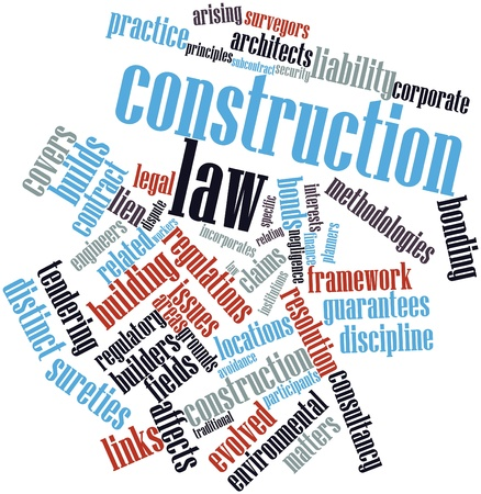 negligence: Abstract word cloud for Construction law with related tags and terms Stock Photo