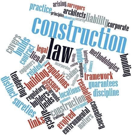 Nuage de mot abstrait du droit de la construction avec des étiquettes et des termes connexes