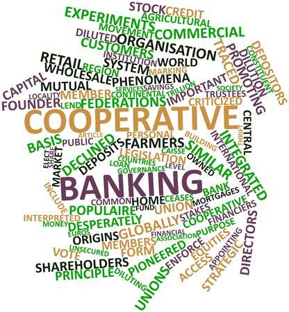 cooperativa: Nube palabra abstracta para la banca cooperativa con las etiquetas y t�rminos relacionados Foto de archivo