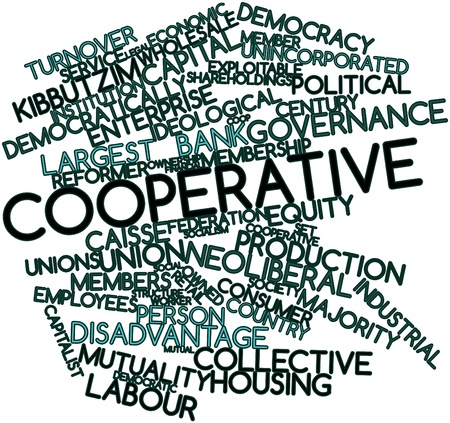 cooperative: Abstract word cloud for Cooperative with related tags and terms Stock Photo