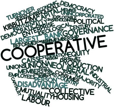 cooperativismo: Nube palabra abstracta para la Cooperativa con las etiquetas y términos relacionados