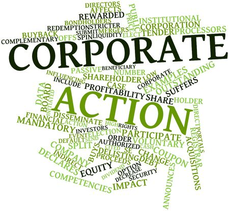 liquidity: Abstract word cloud for Corporate action with related tags and terms