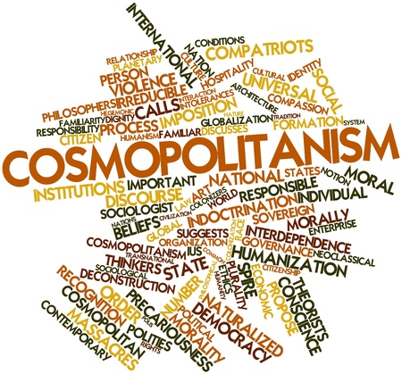 familiarity: Abstract word cloud for Cosmopolitanism with related tags and terms