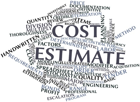 identifiable: Abstract word cloud for Cost estimate with related tags and terms