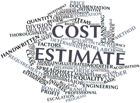 Abstraktes Wort-Wolke für Kostenschätzung mit verwandten Tags und Begriffe