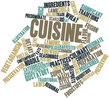 harvesting rice: Abstract word cloud for Cuisine with related tags and terms