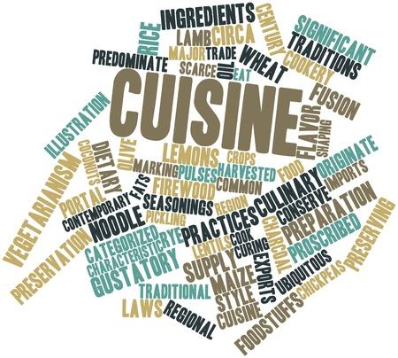 determines: Word cloud astratto per tipo di cucina con tag correlati e termini Archivio Fotografico