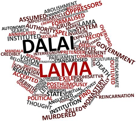 eminent: Abstract word cloud for Dalai Lama with related tags and terms Stock Photo