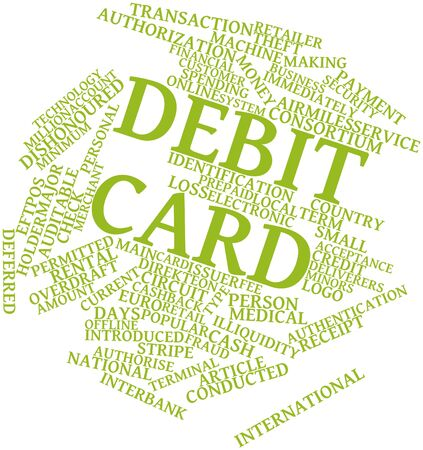 interbank: Abstract word cloud for Debit card with related tags and terms Stock Photo