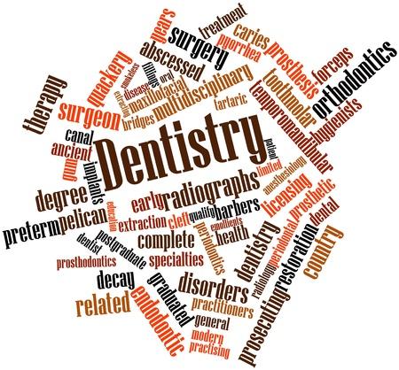 prosthodontics: Word cloud astratto per Odontoiatria con tag correlati e termini Archivio Fotografico