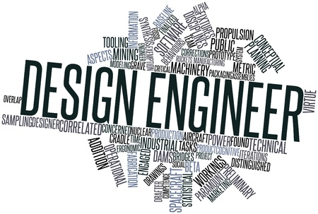 workings: Abstract word cloud for Design engineer with related tags and terms Stock Photo