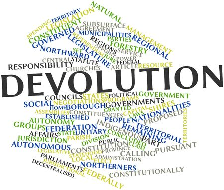 constitutionally: Abstract word cloud for Devolution with related tags and terms Stock Photo