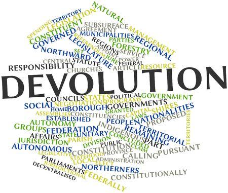 parliaments: Word cloud astratto per devoluzione con tag correlati e termini