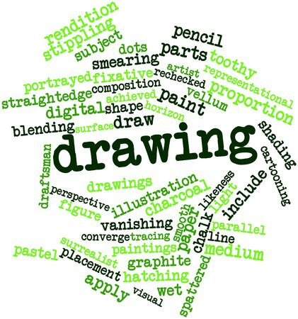 Abstract word cloud for Drawing with related tags and terms Banco de Imagens