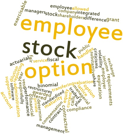 windfalls: Abstract word cloud for Employee stock option with related tags and terms Stock Photo
