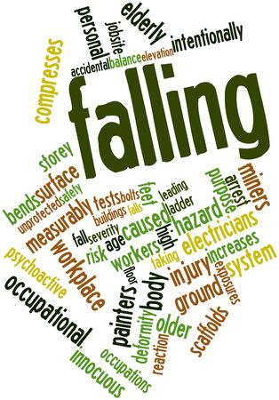 Abstract word cloud for Falling with related tags and terms Stock Photo