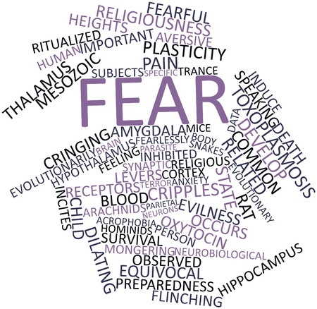 inhibited: Abstract word cloud for Fear with related tags and terms Stock Photo