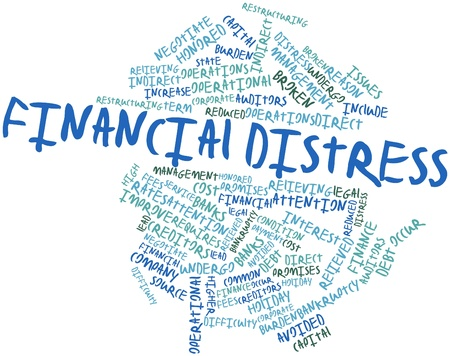 fees: Abstract word cloud for Financial distress with related tags and terms