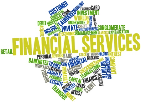 Abstract word cloud for Financial services with related tags and terms